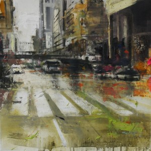 42nd street. 50x50 cms. Mixed media on canvas