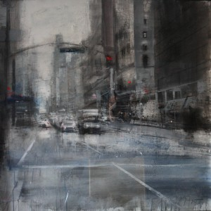 6th Avenue. NY. 100x100 cms. Técnica mixta sobre papel