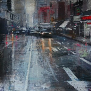8th Avenue. Mixed media on paper. 35x35 cms