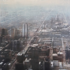 Aerial view of Chicago. 100x70 . Oleo sobre tabla