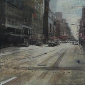 Backlight on 8th Avenue. Oil on panel. 60x60 cms