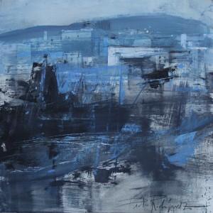 Blue landscape.3 5x35 cms. Mixta sobre papel