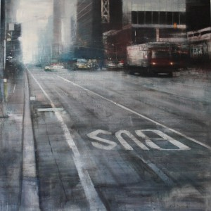 Cloudy morning in Manhattan. 150x150 cms. Oil on panel