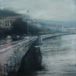 Dia gris en Bilbao. 50x50 cms. Oil on panel