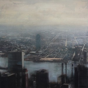 East river. 100x100 cms. Oil on panel