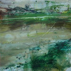 El lago. Mixtapapel. 30x30 cms