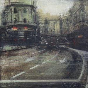 Gran Via Life (Madrid). Oil on panel. 35x35 cms
