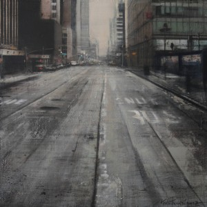 Grey street II. New York. 60x60 cms. Oil on panel