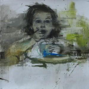 Infancia 2. 45x45 cms.Mixta sobre papel
