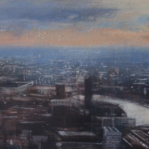 Panoramic view of London. Oil on panel.50x100 cms