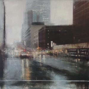 Rain.100 x 100 cms. Oil on panel