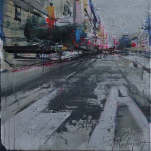 Street I. 35x35 cms. Mixed media on paper
