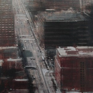 Street. New York. 150x60 cms. Oil on panel