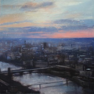 Sunset in London. Oil on panel. 120x120 cms