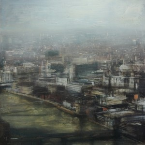 Thames 2. 100x100 cms. Oil on panel