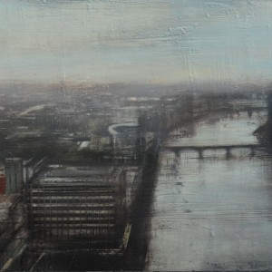 Thames 3. 50x100 cms. Oil on panel