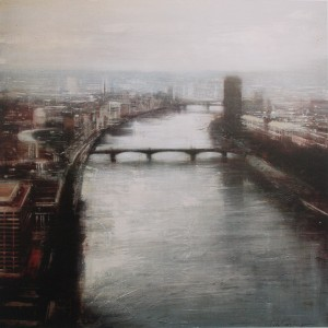 Thames. 100x100 cms. Oil on panel