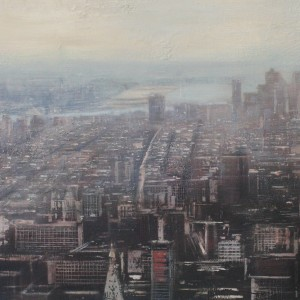 The big city. 61x122 cms. Oil on panel