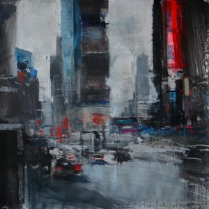 Times Square V. 50x50 cms. Mixed media on paper