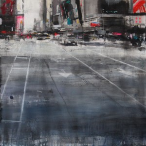 Times Square. 66x66 cms. Mixed media on paper.