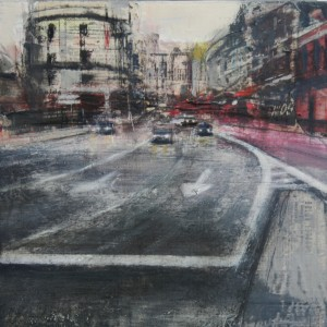 Traffic.Madrid. 35x35 cms. Mixed media on panel