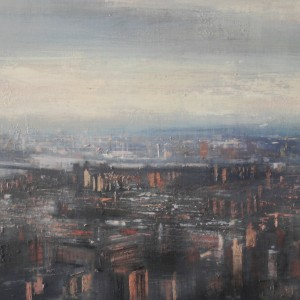 View from Empire State (NYC). Oil on panel. 50x122 cms
