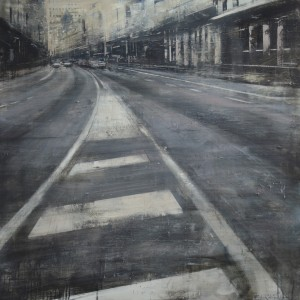 Gran Vía gris II. 100x100 cms. Oil on panel