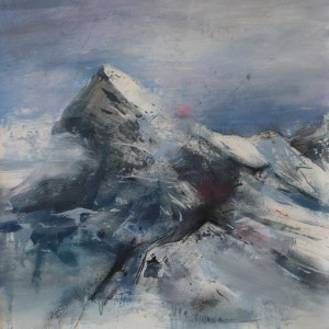 Montaña I. Mixta sobre papel. 100x100 cms