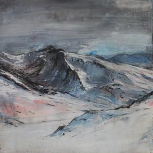 Montaña II. Mixta sobre papel.100x100 cms